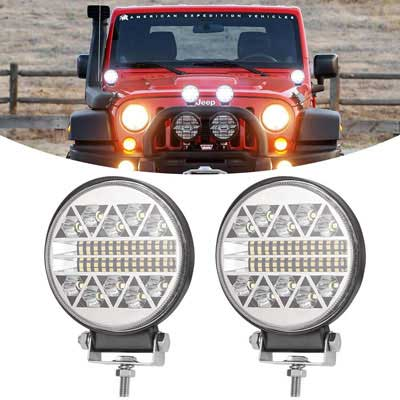 #9. BUNKER INDUST 4'' 2Pcs 15000LM 126 Spot Flood Combo off Road Driving LED Lights