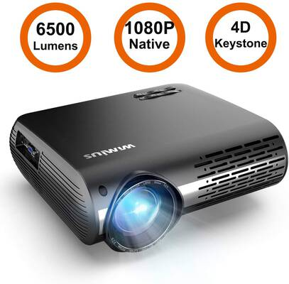 #7. WiMius P20 Native 1080P LED Projector 6500 Lumen Video Projector