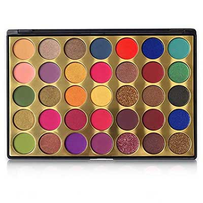 7. FindinBeauty 35 Colors Eyeshadow Golden Palette - Bright Natural Shades
