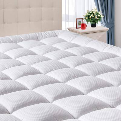 #9. DOMICARE Queen Mattress Pad with Deep Pocket - Hypoallergenic Mattress Topper