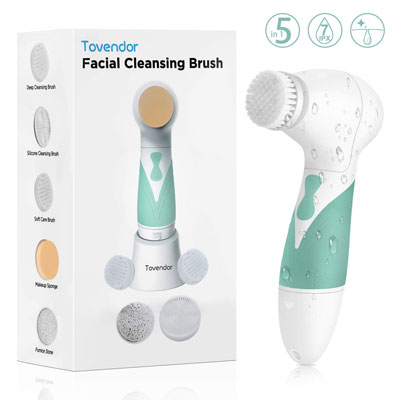 5. Tovendor Facial Cleansing Brush with 5 Brush Heads