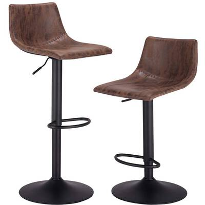 #3. PRAISUN Bar Stools Set of 2, Height Adjustable, Brown