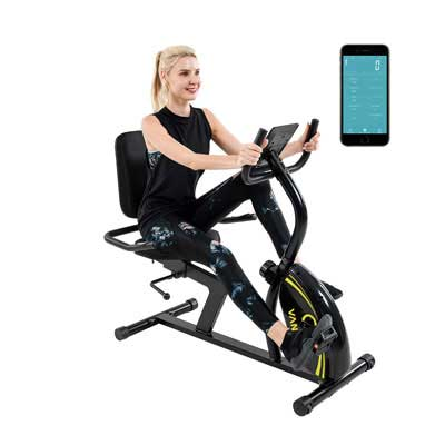 9. Vanswe Recumbent Bike with 16 Levels of Resistance and a Weight Capacity of 380 lbs.