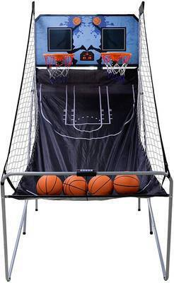 #10. Saturnpower Foldable Electronic Double Shootout 2 Player w/4 Balls Basketball Arcade Game
