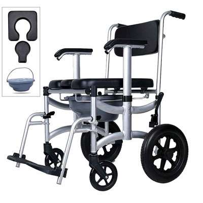 3. Nurth 4 in 1 Chair Adjustable Commode Shower Mobile Chair