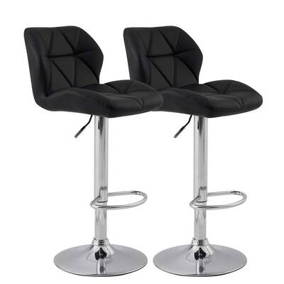 #6. KYOTECH Modern PU Leather Bar Stools, Set of 2 (Black)