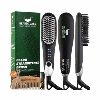 #7. BEARDCLASS Fast Heating Anti-Scald Technology Adjustable Temperature Beard Straightener Comb