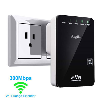 8. Aigital WiFi Range Extender with WPS-2.4GHz Internet Signal Booster, 300mbps