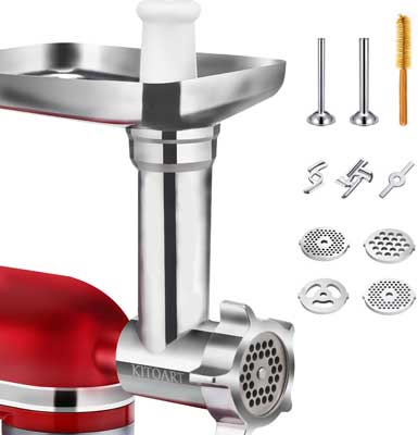 #9. KITOART Metal Food Grinder Durable with Sausage Stuffer Attachment Meat Grinder