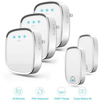 #1. ELFII 1000 Ft Range 4 Volume Levels Touch Activated Wireless Doorbell for Home Office (White-1)