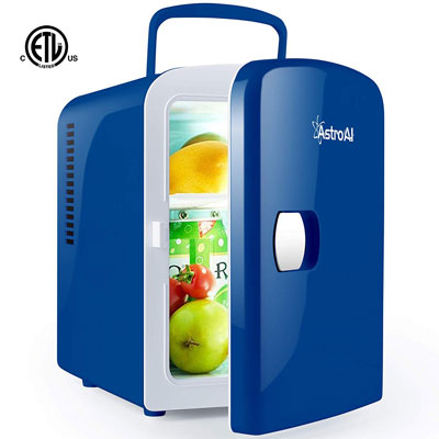 6. AstroAI Mini Fridge AC/DC Powered Portable Cooler and Warmer Thermoelectric System, Blue