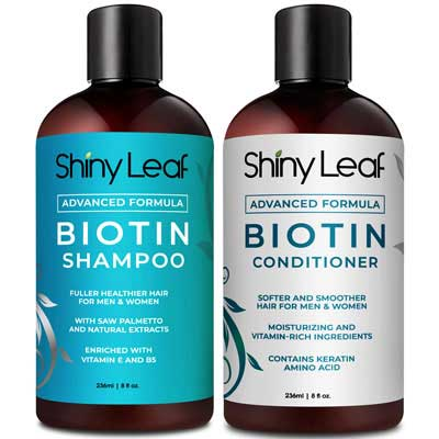 8. Shiny Leaf Biotin Shampoo & Conditioner for Hair Growth, Parabens-Free