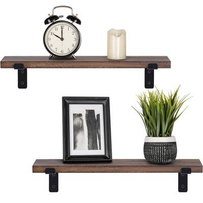#4. Mkono Rustic Wood Floating Wall Mounted Shelves
