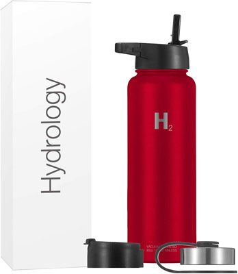#5. Hydrology 40 oz. 3 Lids Hydro-Sports Wide Mouth Insulated Stainless Water Bottle (Red)