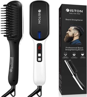 #9. ISTON Anti-Scald Men's Ionic Hair Straightening Brush Beard w/LED Display for Home & Hotel