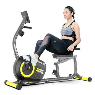 6. pooboo Recumbent Bike with Pulse Monitor and an Adjustable Seat
