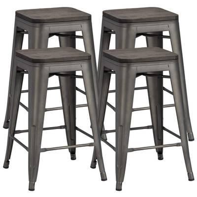 #4. Yaheetech 24 inches Bar Stools for Indoor and Outdoor Use, Set of 4