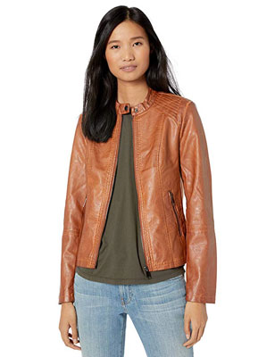 4. Sebby Collection Women's Leather Jacket w/Moto Details