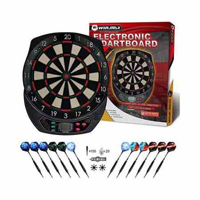 #8. WIN.MAX Automatic Scoring 12 Darts 40 Tips Power Adapter LCD Display Electronic Dartboard Set
