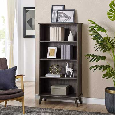 #3. CAFFOZ Newport Series Wooden Tall Modern 5-Tier Smoke Oak Wood Bookcase Shelf