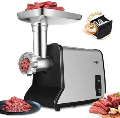 #5. Oneisall Upgrade 3 Stainless Steel 1200W Mincer & Sausage Stuffer Electric Meat Grinder