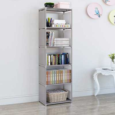 #10. EUNSung Simple Bookcase Storage Book Media CD DVD Folder CD5 Lattice (Gray)