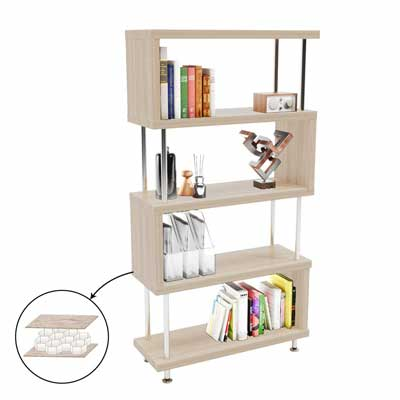 #2. Bestier 5-Shelf S-Shaped Geometric Vintage Industrial Etagere Bookshelf Stand for Home Office