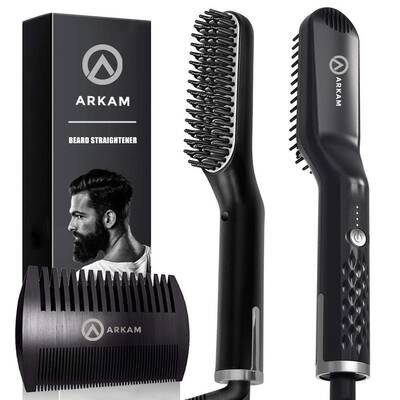 #2. Arkam Dual Voltage 110-240V Cutting Edge Premium Beard Straightener for Men & Women