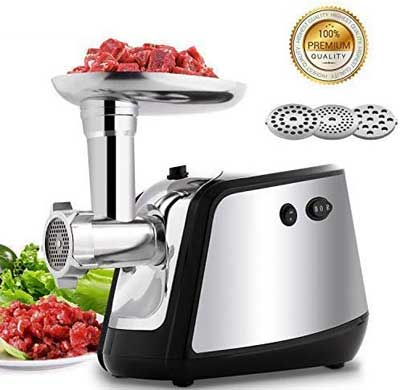 #6. Homdox 1000W Stainless Steel 3 Grinding Plates Electric Meat Grinder for Home Use (Silver)