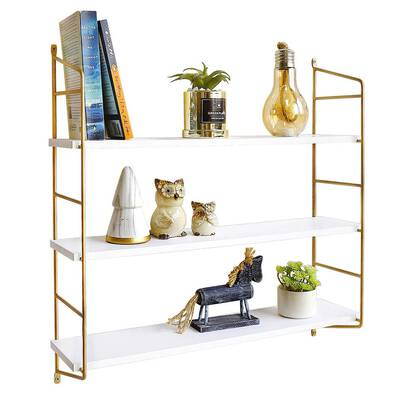 #1. BOLUO Gold 3 Tier Wall-mounted Shelf