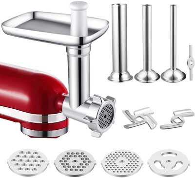 #8. IVict Meat Grinder Machine Compatible for Kitchen Aid Mixers with Sausage Stuffer