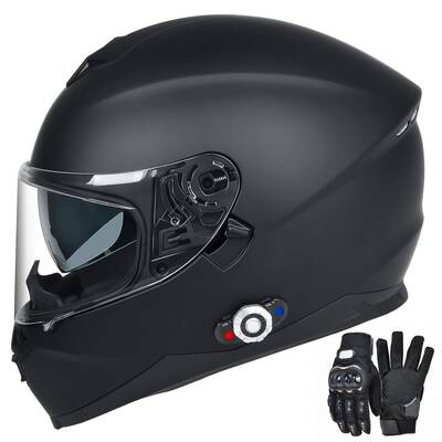 #1.FreedConn Bluetooth Integrated Full Face Motorcycle Helmet (Matte Black, XL)
