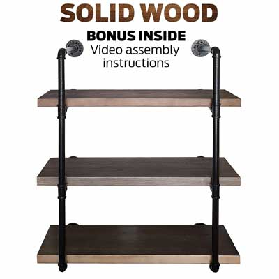 #4. Rusver Industrial Pipe 3-Tier Real Solid Canadian Wood Metal Bookcase Furniture (Retro Brown)