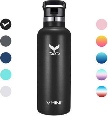 #6. Vmini Standerd Mouth New Straw Lid 22 oz. Stainless & Vacuum Insulated Bottle