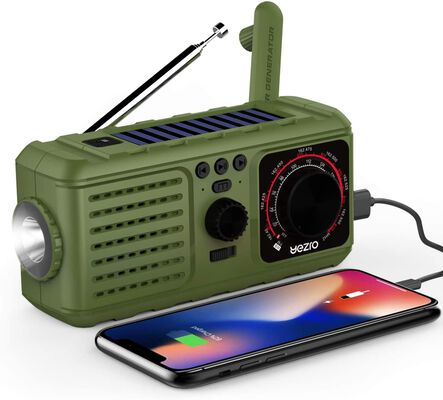 8. Yezro Green Self Powered Emergency SOS Alarm and Radio for Use while in the Wild