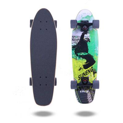 #1. FlyBee Boards 27'' 7-Ply Canadian Maple PU Wheels Cruiser Skateboard Compete (Green & Black)