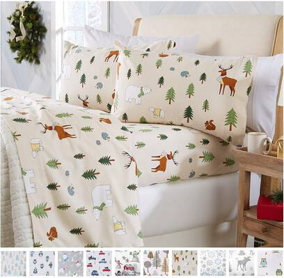 #1. Home Fashion Designs Soft Printed Flannel Sheet Set (Twin, Wildlife)