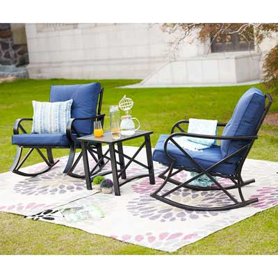 5. LOKATSE HOME 3 Piece Patio Outdoor Rocking Chair Bistro Sets