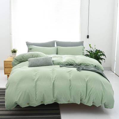 #9. JELLYMONI 2Pcs Green Solid Color Breathable 100% Washed Microfiber Alternative Down Blanket