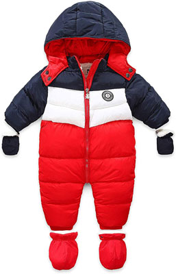 #1. RUIMING Newborn Hooded Zipper Baby Snowsuit Outwear Footed Romper