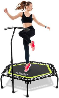 #5. ONETWOFIT 45 Inches Mini Trampoline with an Adjustable Handle Bar