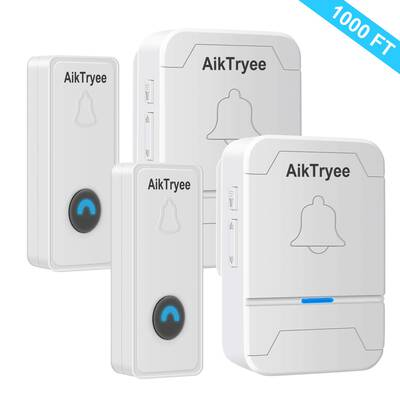 #9. AikTryee 58 Chimes LED light Easy Install Over 1000 Ft Range Wireless Doorbell Kit (2-Pack, White)