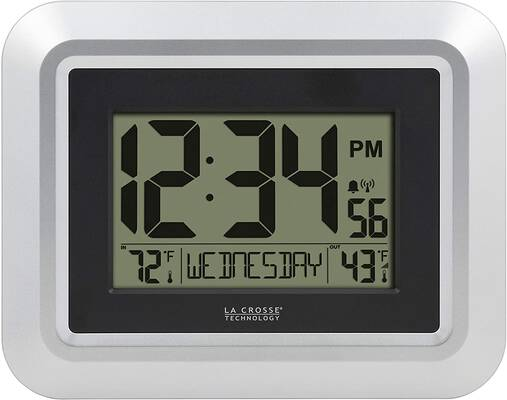 #6. La Crosse Technology Atomic Digital Wall Clock w/Temperature (Silver)-513-1918S-INT