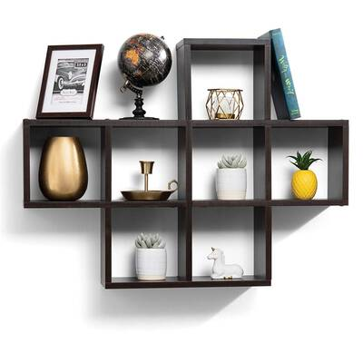 #2. Sagler Floating Shelves With10 Square Cube Wall Mounted shelves