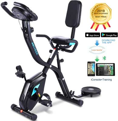 #4. Zafuar Folding Exercise Bike with Twister Plate and 10Level Adjustable Resistance