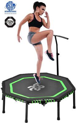 #4. Newbona Mini Trampolines Rebounder with Adjustable Handrail