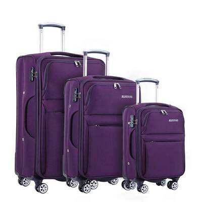 #4. Jellystars 3-Pcs Softside Wheel Spinner TSA-Lock Suitcase 20'' 24'' 28'' for Women & Men (Purple)