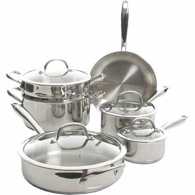 #7. Kenmore Devon 10-Piece Stainless Steel Cookware Set