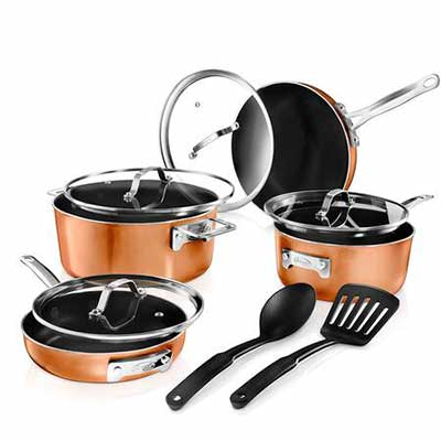 #6. GOTHAM STEEL 2874 10 Piece Cookware Set, Brown