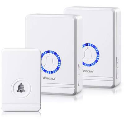 #4. WSDCAM 1300 Ft Range Adjustable Volume 48 Chimes LED Flash Wireless Doorbell w/2 Receivers